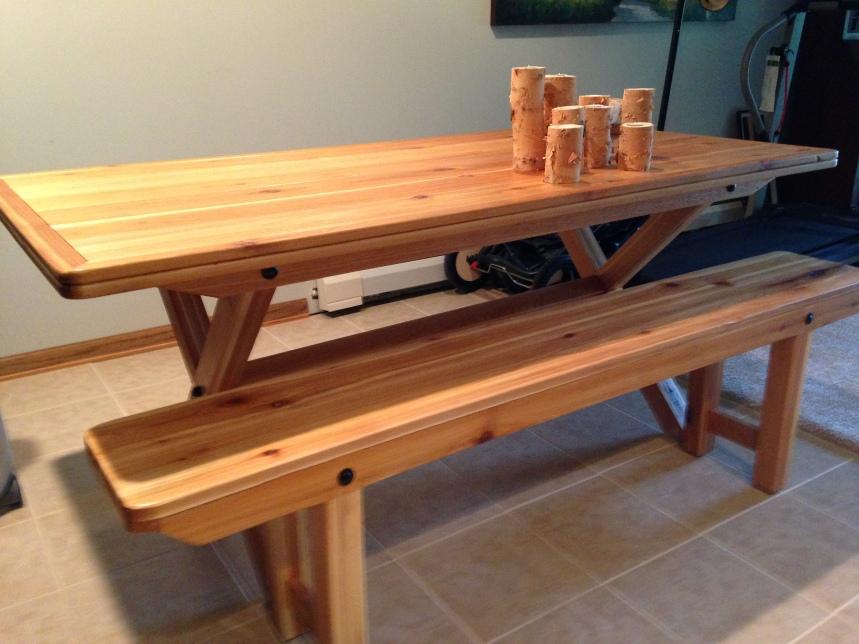 natutal cedar dining table & bench