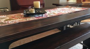 Hardwood table & bench