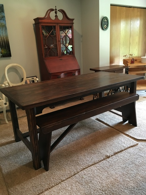 6FT WALNUT STAIN TABLE AND BENCH